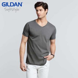 Gildan 64V00 4.5oz Softstyle Adult Ring Spun V-Neck T-Shirt (US Size)